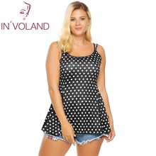 IN'VOLAND Women Cami Plus Size Double Strap Solid Dot Leopard Summer Sexy Flared Slim Feminino Vest Top Camisole Oversized