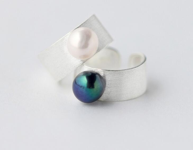 Real 925 Sterling Silver jewelry freshwater cultured black white Pearl Band Ring Thumb Ring For Party
