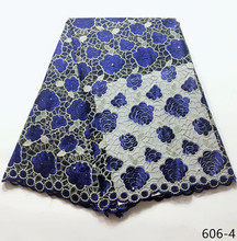 2019 High Quality African Lace Fabric Latest Embroidered Nigerian Mesh Tulle French Blue 606