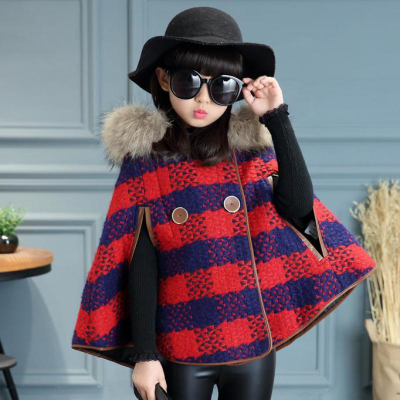 2017 Teenage Girls Thick Coat Hooded Cloak Poncho Jacket Woolen Overcoat British Style Children Poncho Cape Red Plaid Outwear 14 hot sale butterfly and flower pattern feather pendant loose cloak coat poncho cape for women
