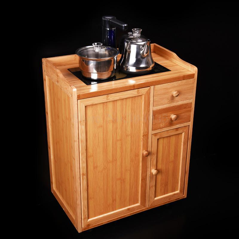 Removable tea racks multi-function small bamboo tea cabinet tea cabinet living room home automatic boiling water tea table - Цвет: VIP 4