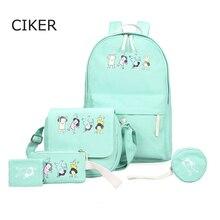 Ciker марка опрятный стиль печати рюкзак женщин холщовый мешок дорожные сумки ноутбук рюкзаки для девочек-подростков школьные сумки