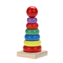 Montessori Wooden Educational Toy for Children Wooden Stacking Ring Tower Rainbow Stack Up Block Toy Block