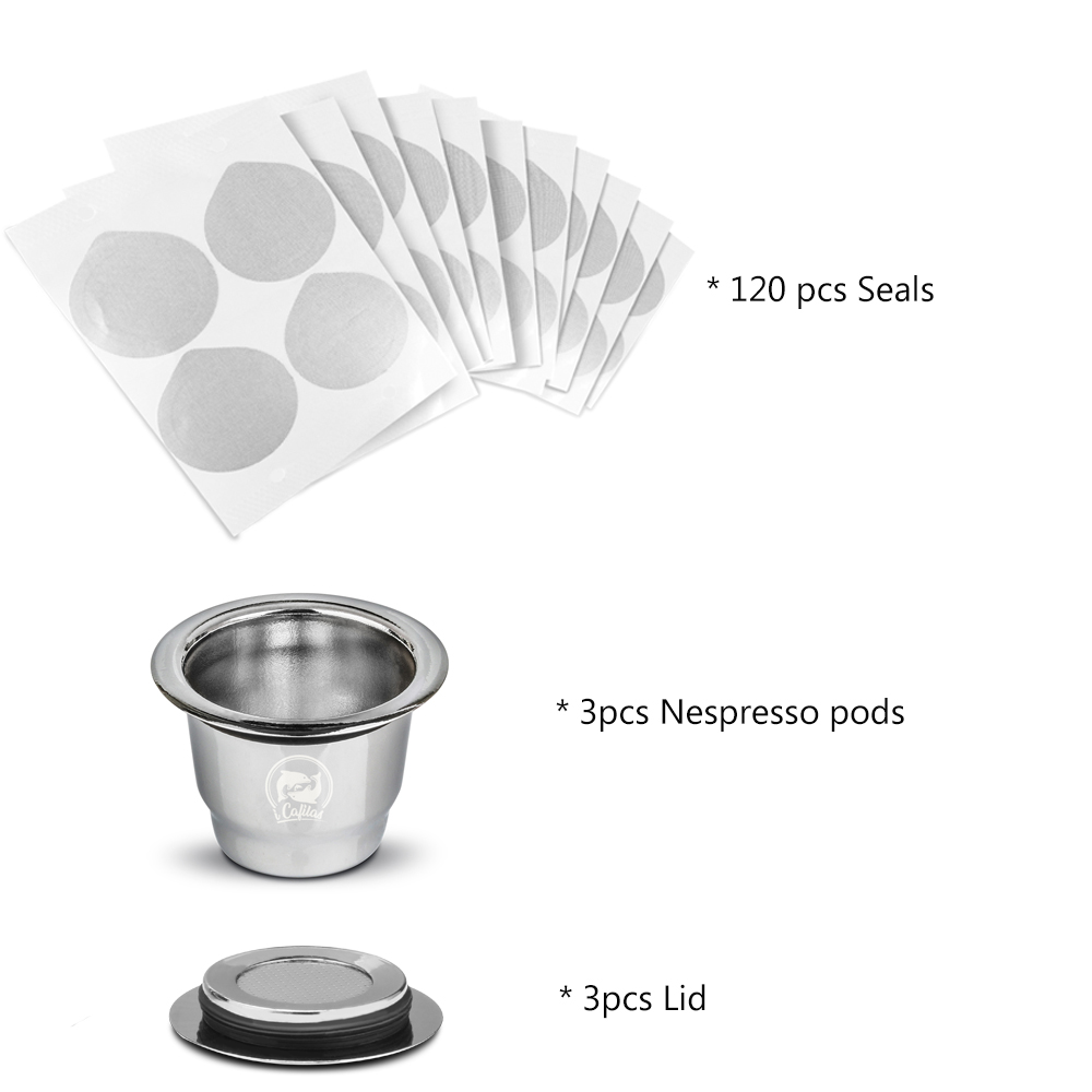 Image 5 - 2 in 1 Usage Recargables Coffee Filter Stainless Steel Nespresso Refillable Capsule 3pcs+120 Seals Reusable for Essenza Mini-in Coffee Filters from Home & Garden