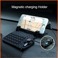 2 In 1 Anti Slip Mat Car Phone Holder Magnetic Micro Usb Mount Car Charge Dock