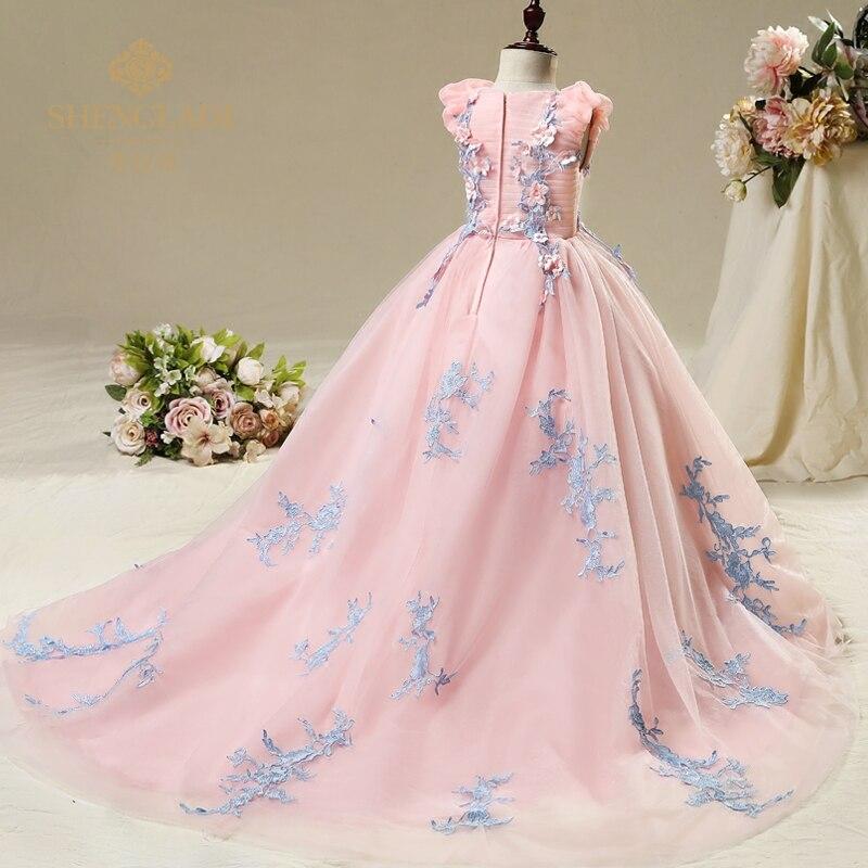 First Communion Bridesmaid Dresses for Children Flower Girls Dresses Vintage Wedding Girls Pink Long Ball Gowns Dress 8 years