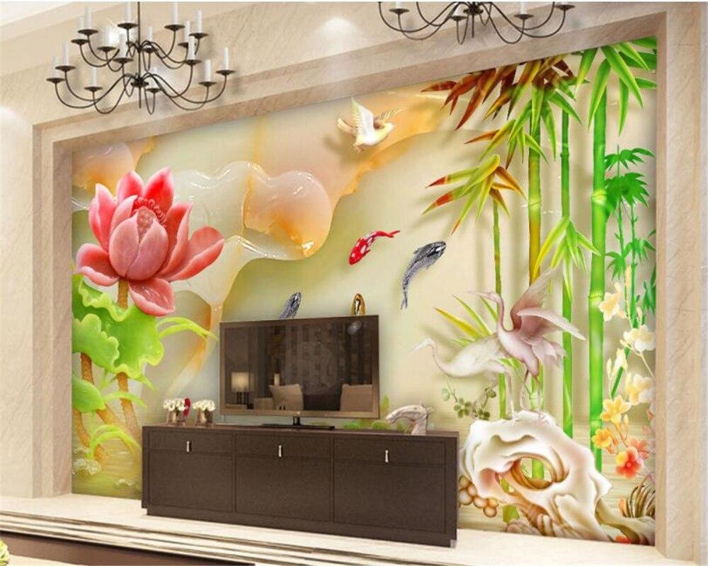 Beibehang Custom 3d Wallpaper Hd Relief Jade Carving Lotus Carp