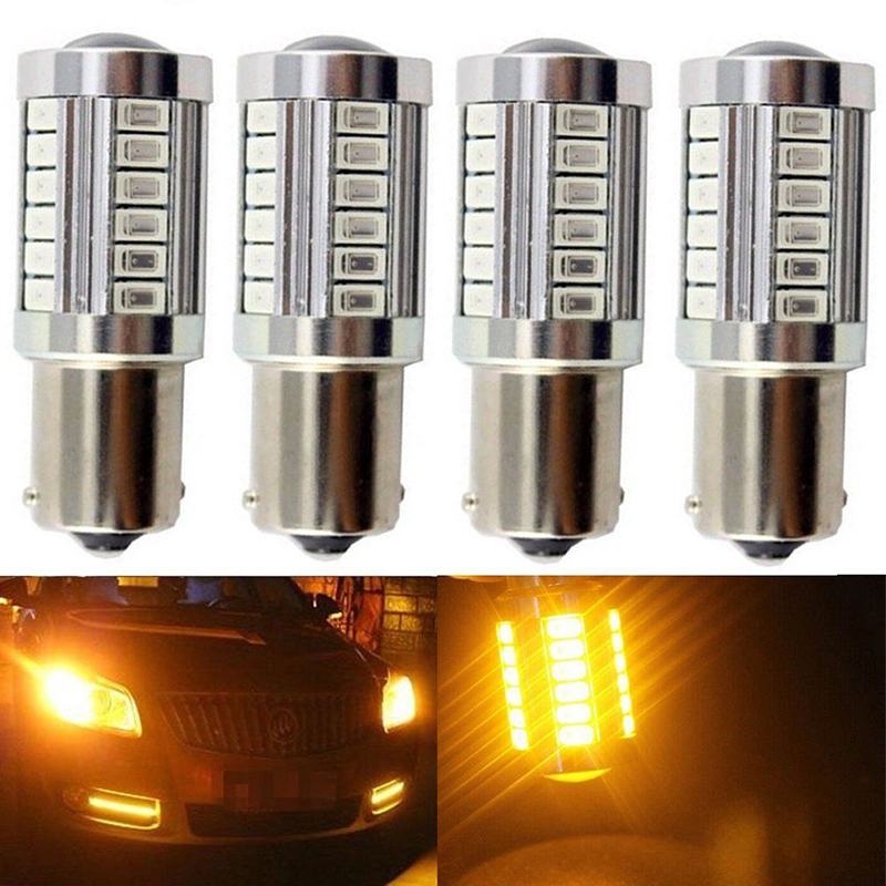 4Pcs/Lot Amber BA15S Car Turn Signal Light P21W 1156 33SMD LED Tail Reverse Lamp Bulb Auto Backup Parking Side Marker Lights 2x s25 1156 bau15s py21w led 2835 chips car turn signal bulb brake lights auto reverse lamp daytime running light white amber