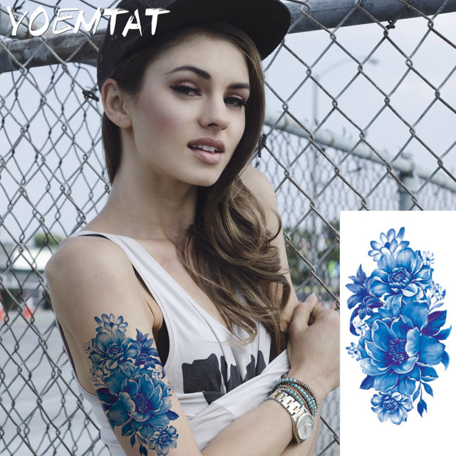 Blue Realistic Roses Flowers Arm Shoulder Tattoo Stickers Flash