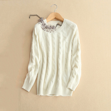 Women's beige loose thick pullover sweater 100% pure cashmere with long sleeves O-neck