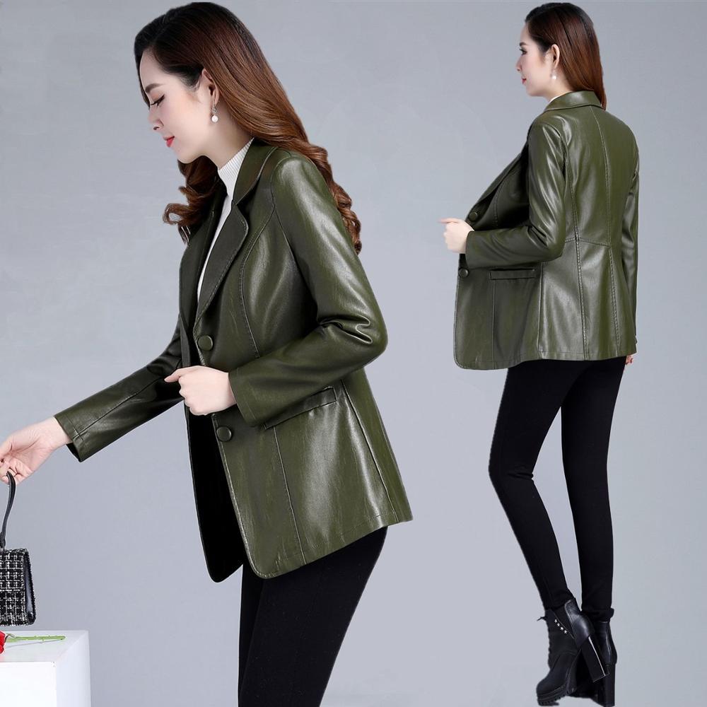 5XL plus size women jacket   Leather   clothing female 2019 new slim long spring and autumn women's PU ladies   leather   jacket female