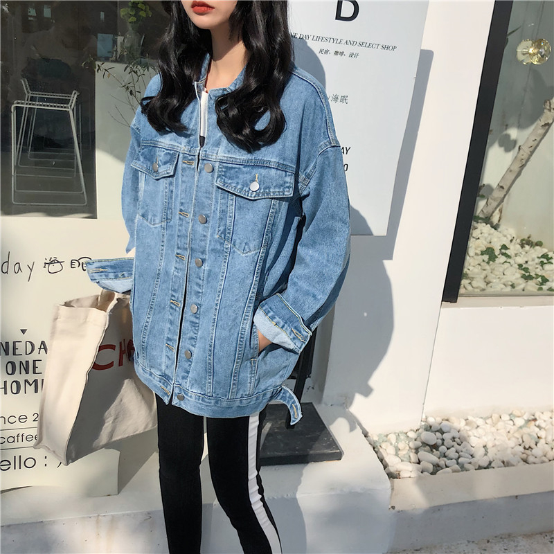 RUGOD Solid Turn down Collar Jean Jacket for Women Loose Casual Blue Fashionable Women Coats Female outwear Denim Feminine N729 in Jackets from Women 39 s Clothing
