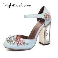 Новая мода 7.5 см толстый каблук Кристалл Женская обувь бархатные со стразами китайский Стиль Свадебные Насосы обувь на высоком каблуке