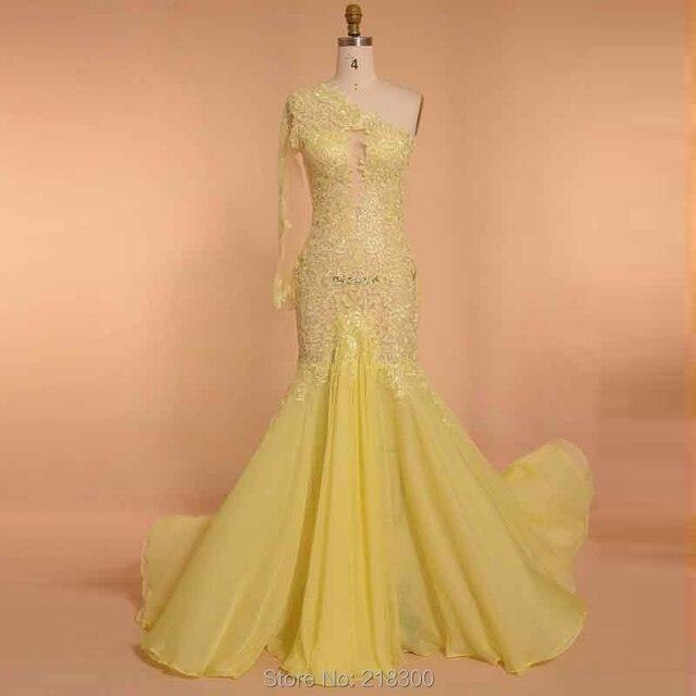 Kim Kardashian Langarm Gelb Celebrity Kleider Open Back Prom Kleid ...