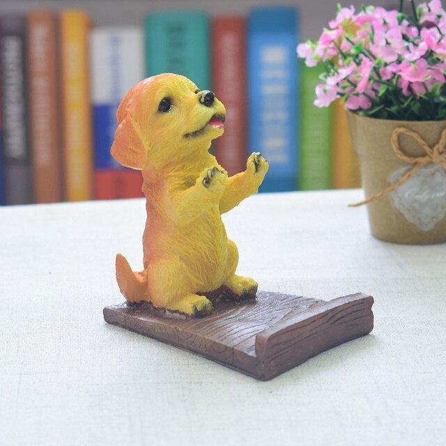 Estátua Do Cão de Filhote de Cachorro Pug Presente Bonito do animal de Estimação Modelo Artesanato Desktop Stand Titular Tablet Suporte Suporte do Telefone de Resina Decoração Da Casa