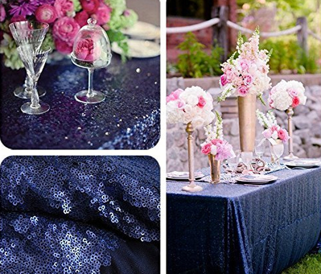 2017 New Navy Blue Rectangle Sequin Tablecloth 120x400cm Wedding Table Cloth Sparkle Linen