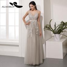 Alagirls New Designed Prom Dress 2019 A Line Evening V-Neck Party Gray Color Formal Woman Dresses Robes de bal