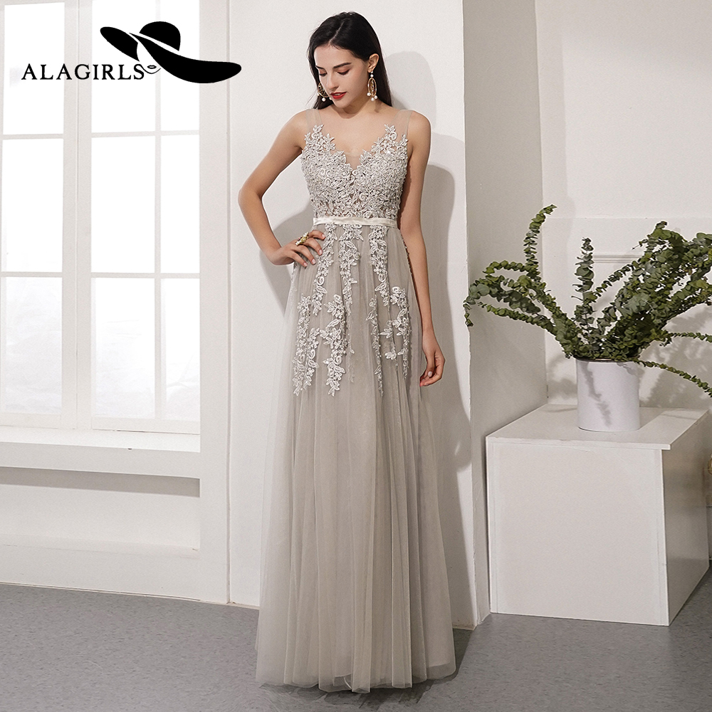 Alagirls New Designed Prom Dress 2020 A Line Evening Dress V-Neck Party Dress Gray Color Formal Woman Dresses Robes de bal title=