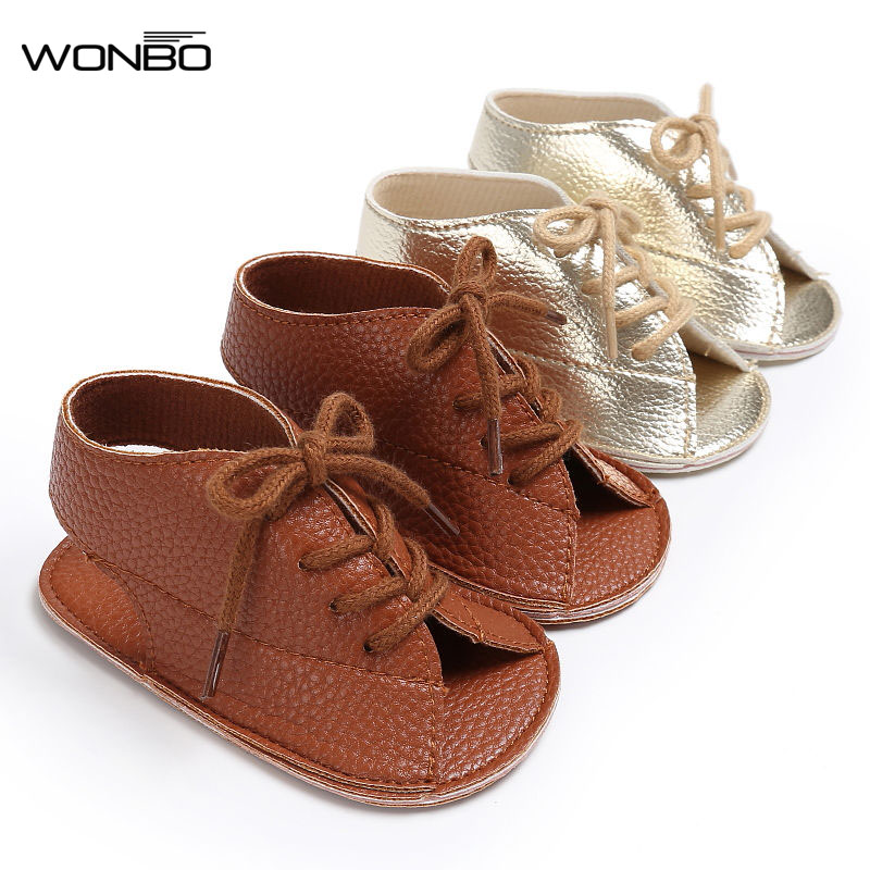 Hot Sell Pu Leather Baby Moccasins Child Summer Girls Boys Fashion Sandals Sneakers Baby Shoes 0-18 M Baby Sandals Lace-up