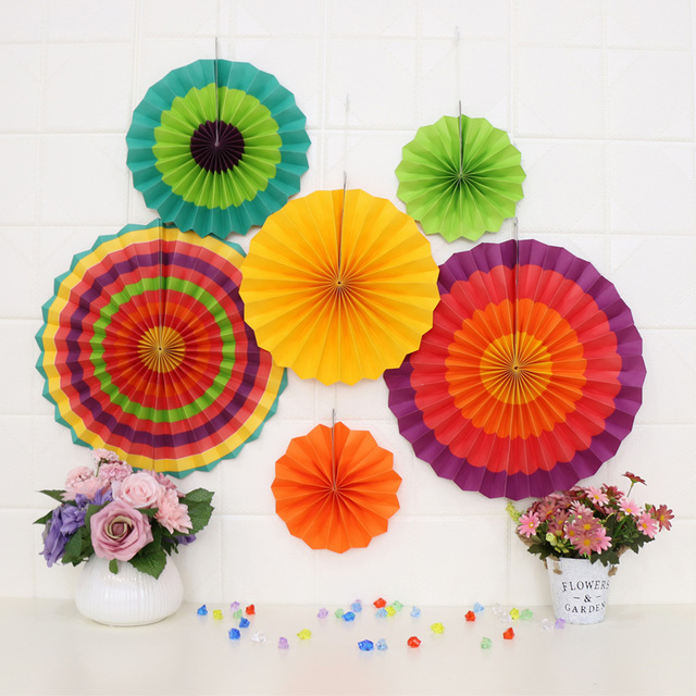 7pcs Birthday Party Decoration Paper Fan Suit Background Wall Ping Mall Wedding Room Window Creative Decorative