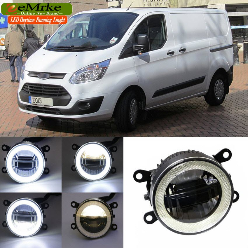 eeMrke For Ford TRANSIT 2006-2016 3 in 1 LED DRL Angel Eye Fog Lamp Car Styling High Power Daytime Running Lights Accessory high quality h3 led 20w led projector high power white car auto drl daytime running lights headlight fog lamp bulb dc12v