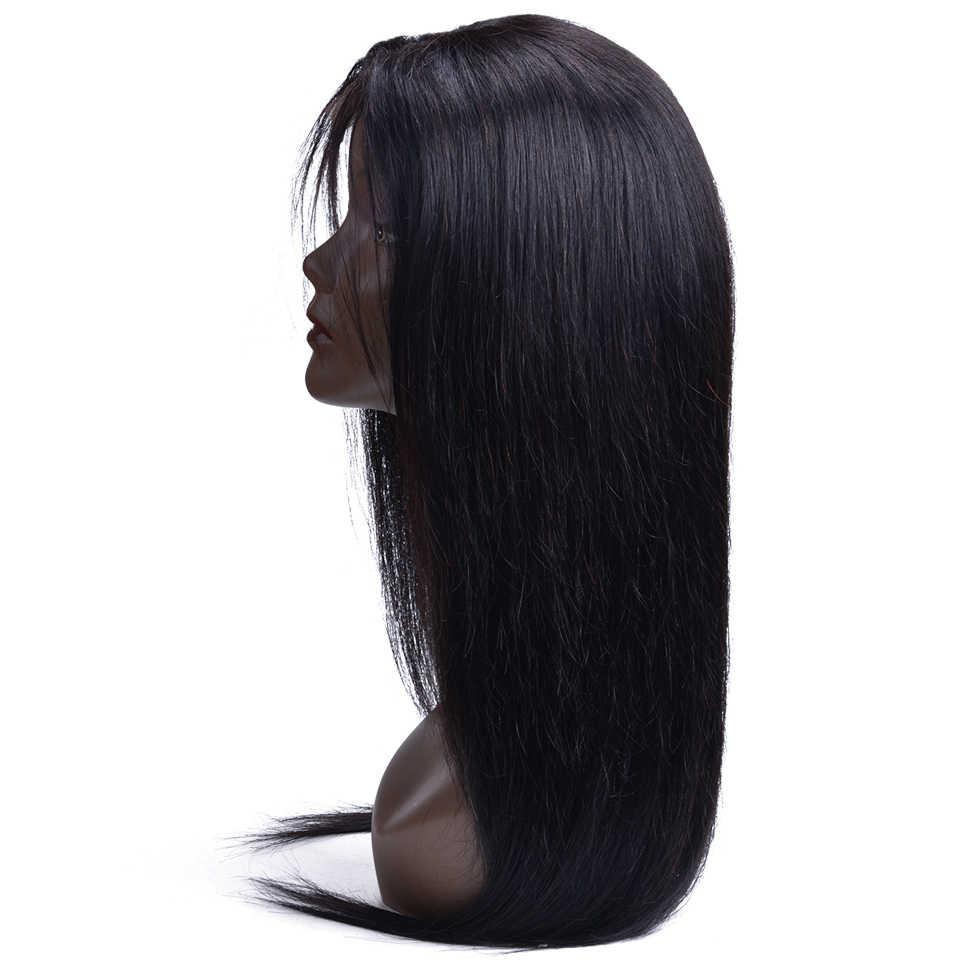 Бесклеевая кружевная передняя часть человеческих волос парики для черных женщин предварительно сорвал бразильские прямые волосы парик с волосами младенца Remy 4X4 закрытие парик