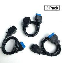OBDII Авто Диагностический кабель 3 шт. в упаковке 16 pin удлинитель obd 2 16 pin удлинитель 16 pin obd2 разъем адаптер