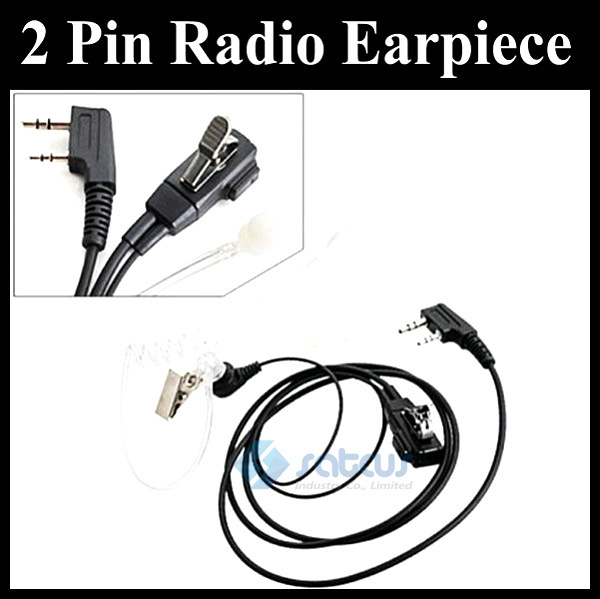 Free Shipping 2 PIN Two Way Covert Acoustic Tube Earpiece for KENWOOD Radios Earphone