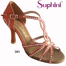 Free Shipping Suphini High Thin Heel Dance Shoes Orange Color Crystal Decorated Woman Salsa Latin Dance Shoes