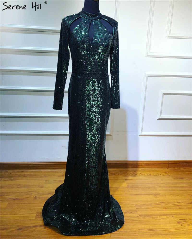 9dcb684245 New Designer Green High Neck Sexy Evening Dresses 2019 Sequined Long  Sleeves Luxury Evening Gowns Dubai Robe De Soiree BLA6314