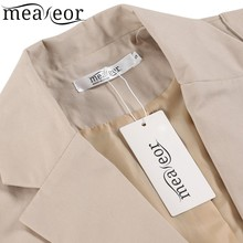 Meaneor Brand Women Trench Coat Autumn Middle Long Length Outwear Vintage Style Lapel Long Sleeve Solid Trench Coat with Belt