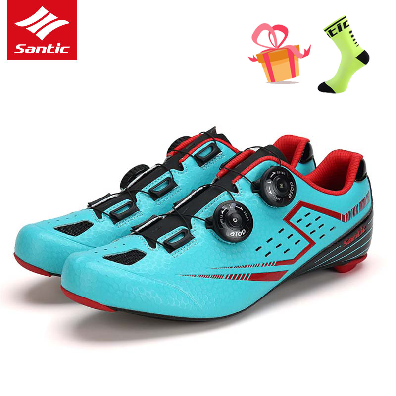 Santic Men Cycling Shoes with Carbon Fiber Outsole Self-locking Athletic Road Bike Shoes Bicycle Brand Shoes Zapatillas Ciclismo inbike road cycling shoes men 2018 carbon fiber road bike shoes self locking bicycle shoe athletic sneakers sapatilha ciclismo