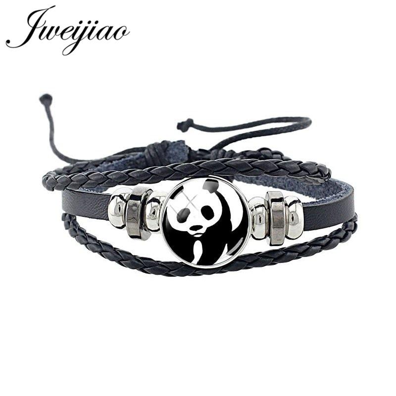 JWEIJIAO Black Leather Cord Bracelet/Bangle For Woman Men Panda Bracelet Fashion Punk Lovers Jewelry Birthday Gifts E757(China)
