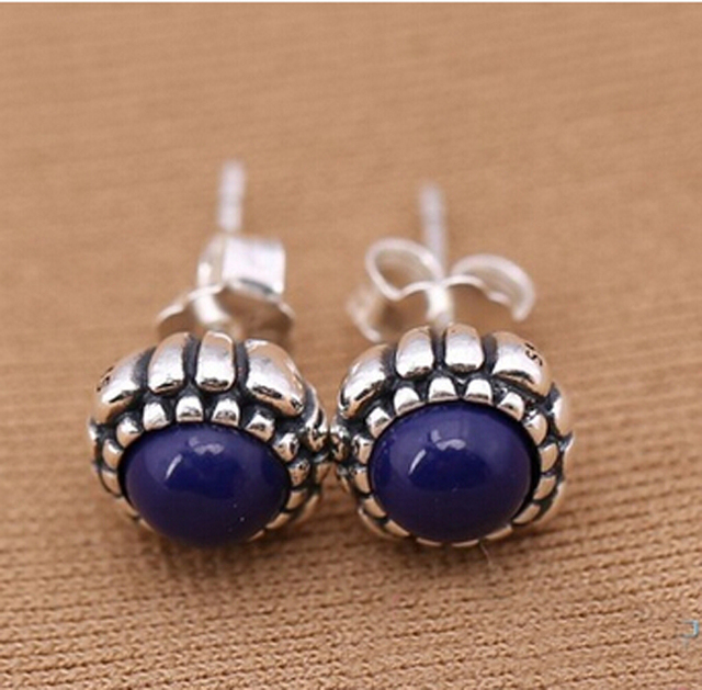Original Blue Lapis September Birthday Bloom Stud Earrings Anthentic 925 Sterling Silver Compatible With Pandora Jewelry