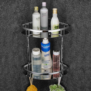 Image 2 - Deluxe 304 Stainless Steel Double Tiers Corner Shower Bright Basket Shelf Tidy Rack Caddy Storage Organizer etagere mural