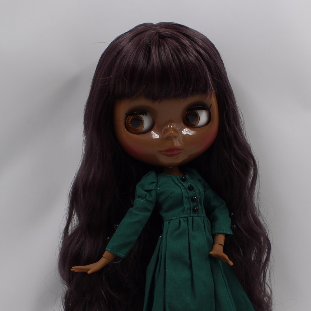 Neo Blythe Doll with Purple Hair, Black skin, Shiny Face & Jointed Body 2