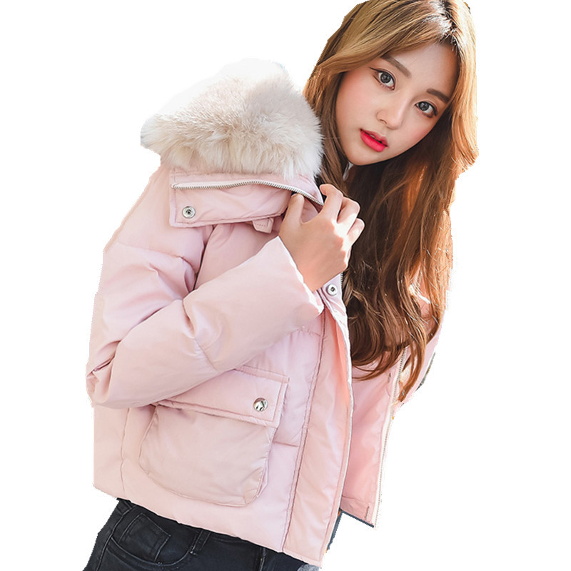 High Quality 2017 Cotton Padded Large Faux Fur Collar Womens Winter Jackets Thickening Wadded Coat Students Short Parkas TT3053