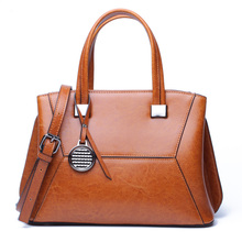 Oil Wax Cowhide Women Shoulder Bags