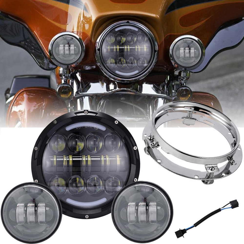 7 80W Round Moto LED Headlights with Matching 4.5  Fog Lights for Harley Davidson Motorcycles with 7 Mounting Bracket7 80W Round Moto LED Headlights with Matching 4.5  Fog Lights for Harley Davidson Motorcycles with 7 Mounting Bracket