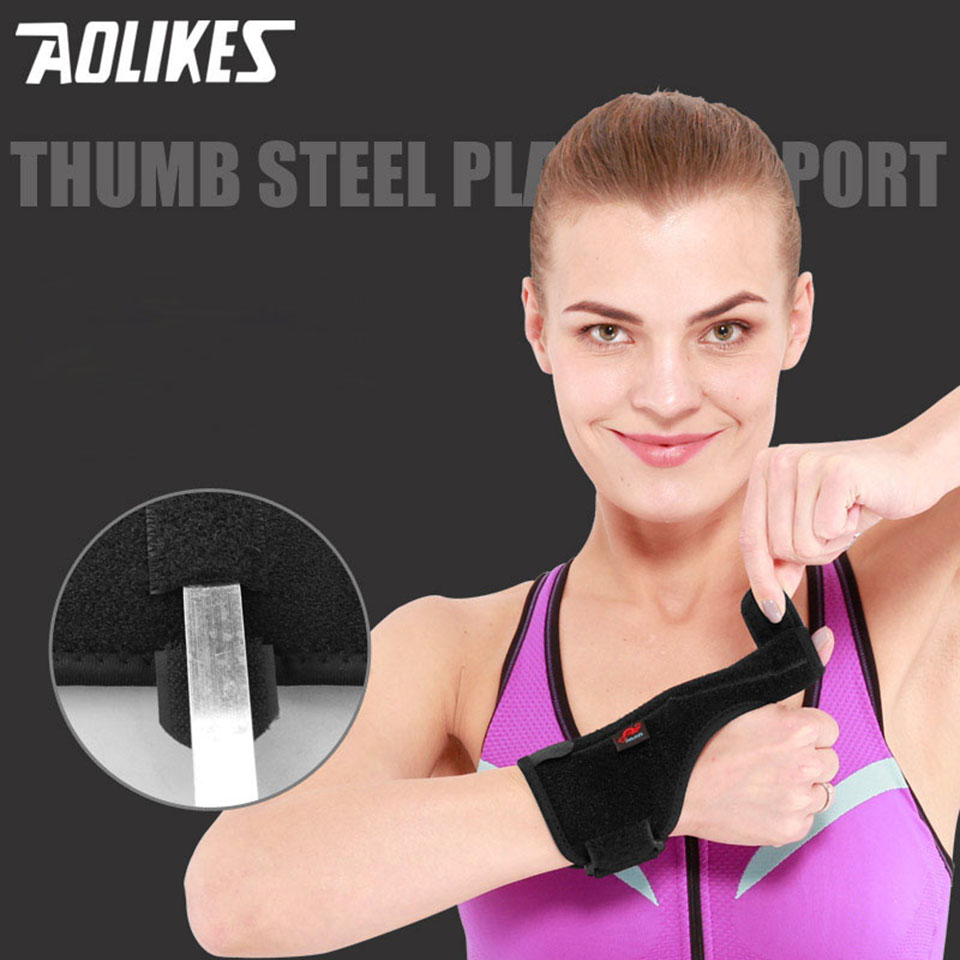 Aolikes 1Pcs Elastic Thumb Wristband Spring Steel Wrap Hand Palm Wrist Brace Right or Left Hand Support Corrector Bandage A-1677