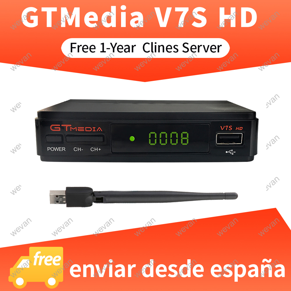 1 Year Europe Clines Server DVB S2 Freesat V7S HD Satellite Decoder USB WiFi 1080P Parabolic