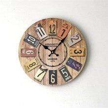 5f7c4dc37 OUTAD الخشب الأوروبية الزمن القديم الكلاسيكية الرجعية ساعة حائط الأزياء الديكور  المعيشة ديكورات للحائط سات المنزل