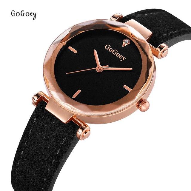 4e87dca6a68d Nueva moda de Gogoey marca oro rosa Relojes de Cuero de las señoras de las  mujeres