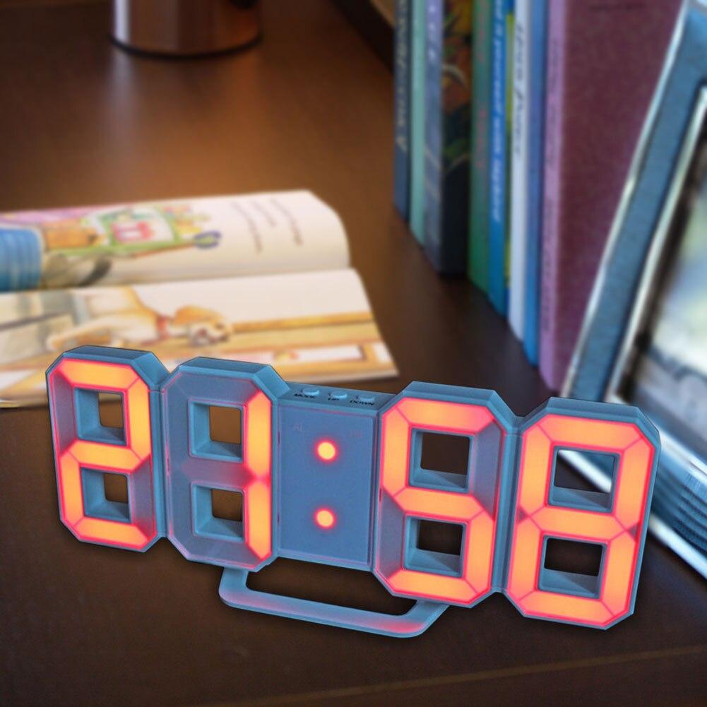 Led-tischleuchten Intellektuell 3d Led Digital Uhr Nacht Licht 12/24 Stunde Einstellen Helligkeit Moderne Elektronische Wecker Schreibtisch Wand Decor Glowing Hängen Uhr Kunden Zuerst