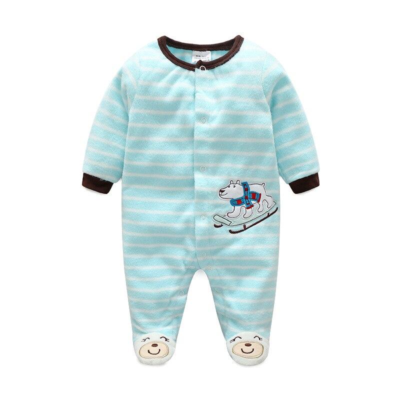 Godier Newborn Boy Girl Footed Rompers Cartoon Baby Clothing Polar Bear Fleece Cotton Sleep Clothes Blue Pajamas Zipper Jumpsuit cartoon boy girl design resin desktop decoration