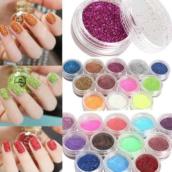 24 Colors Nail Art Glitter Powder Dust For UV GEL Acrylic Powder ...