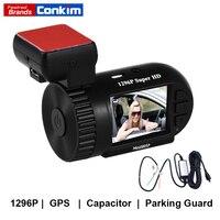 Conkim Dash Cam GPS DVR Digital Video Recorder 1296 P 1080 P Full HD ẩn Đen Box Mini 0805 P w/Dây Cứng Kit Auto Camera DVR