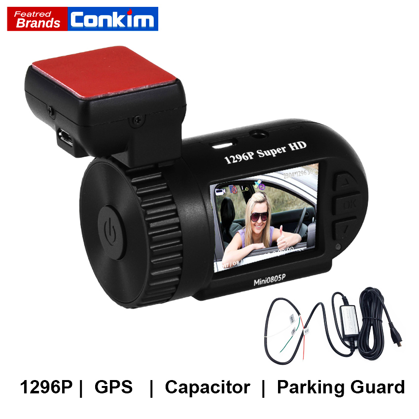Conkim Dash Cam GPS DVR Digital Video Recorder 1296P 1080P Full HD Hidden Black Box Auto Camera DVR Mini 0805P w/ Hard Wire Kit