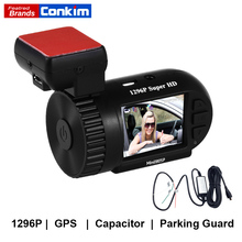 Conkim Dash Cam GPS DVR Digital Video Recorder 1296P 1080P Full HD Hidden Black Box Auto Camera DVR Mini 0805P w/ Hard Wire Kit
