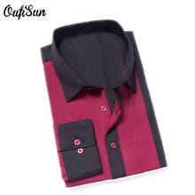 Oufisun New Fashion Brand Long Sleeve cotton Shirt Men Korean Slim Design Formal Casual Male Two-color stitching Shirt USA Size